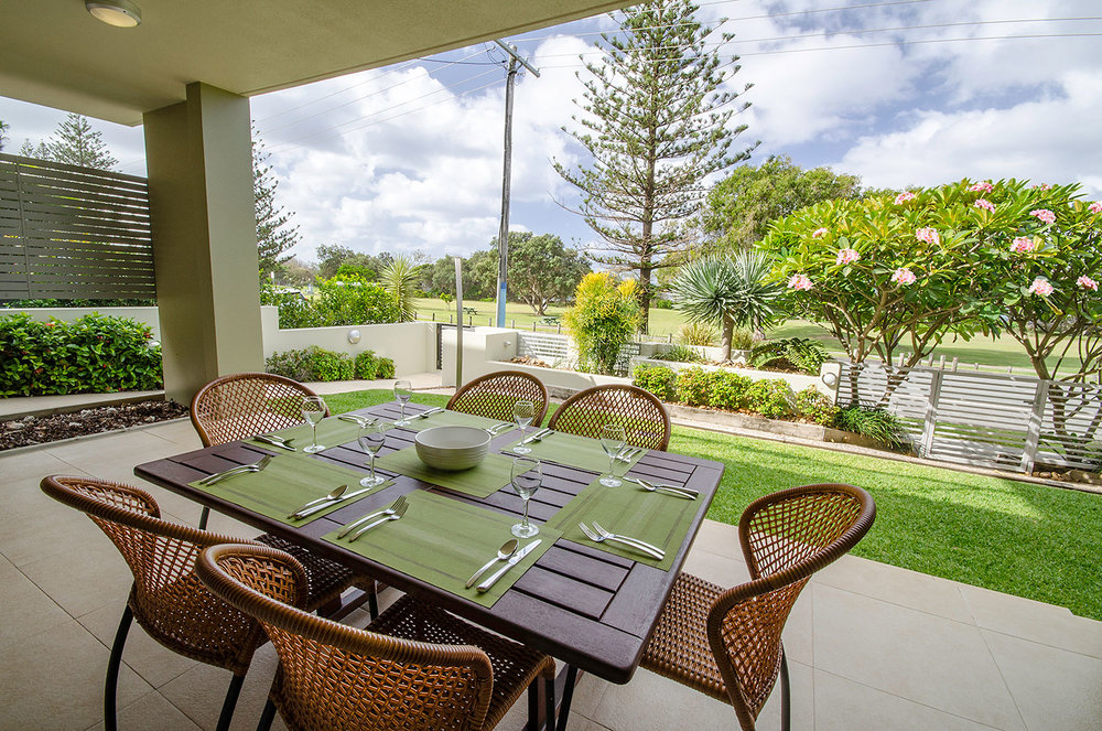 Child-friendly entertainment terrace and garden, Apartment One | Ming Apartments, Kingscliff NSW Australia