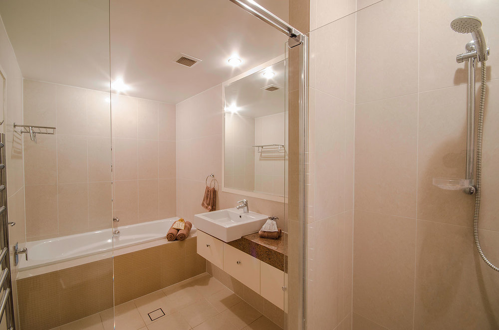 Main bathroom with bathtub, Apartment One   Ming Apartments, Kingscliff NSW Australia