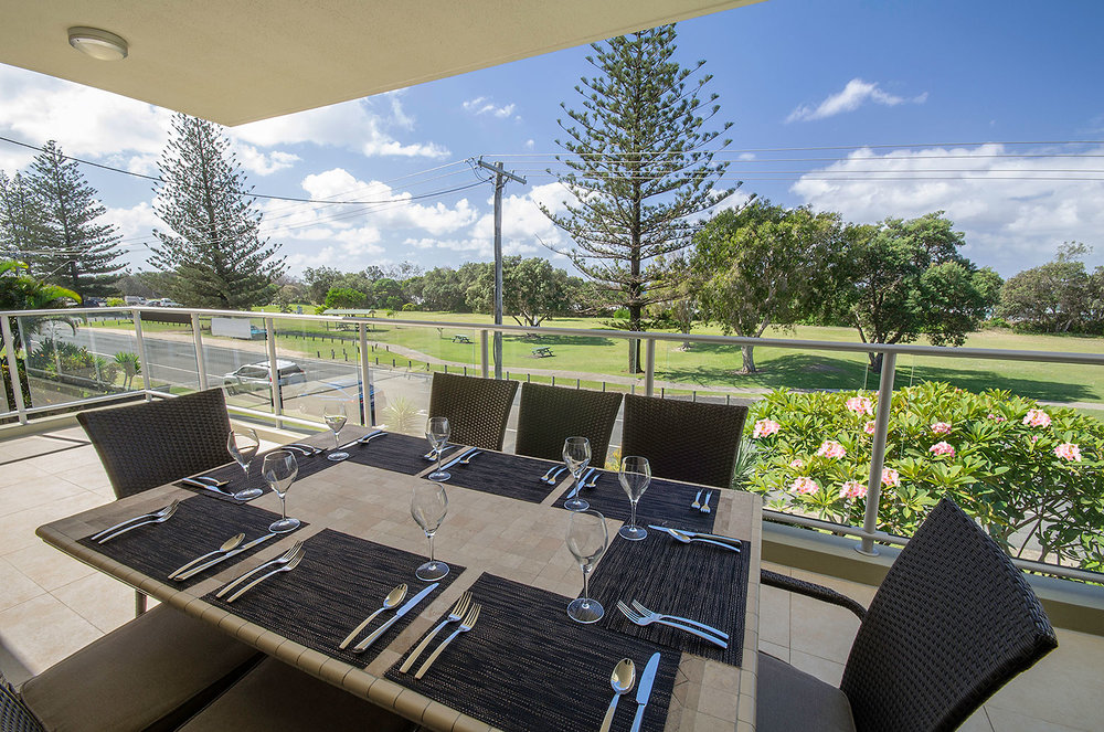 Apartment balcony with ocean foreshore views, Apartment Three | Ming Apartments, Kingscliff NSW Australia