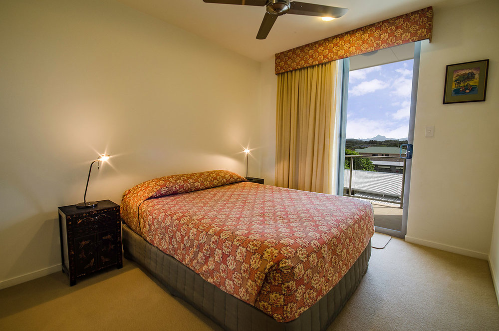 Bedroom with private terrace, Apartment Three | Ming Apartments, Kingscliff NSW Australia