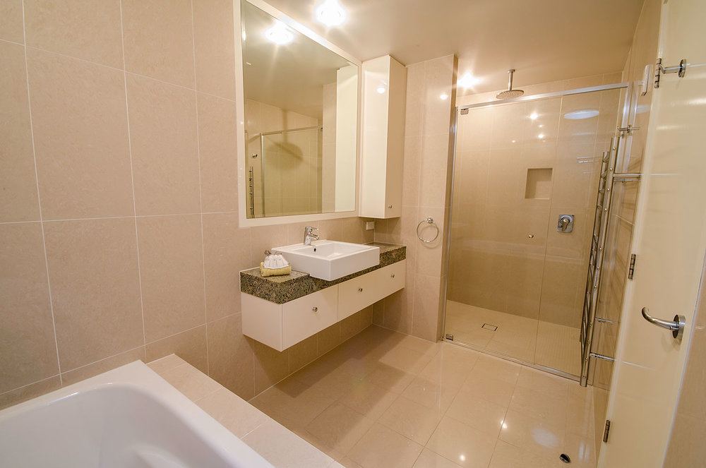 Main bathroom with separate bath and shower, Apartment Three | Ming Apartments, Kingscliff NSW Australia