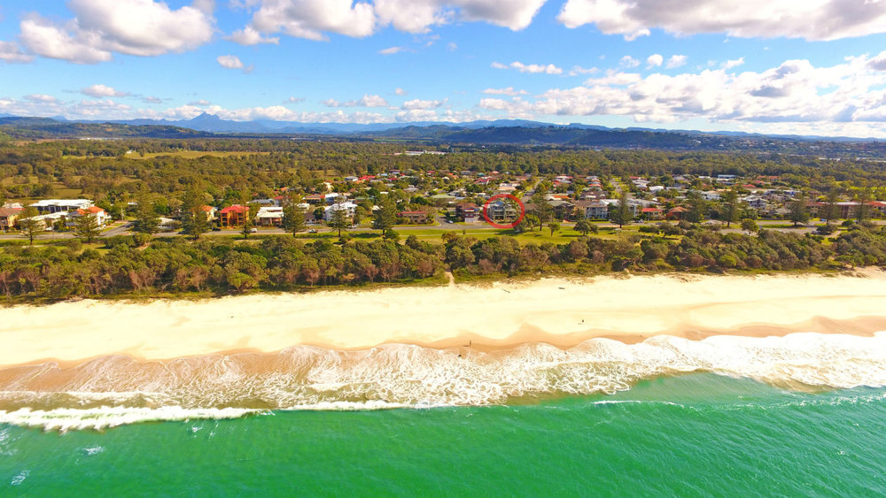 Facing the beach, Ming Apartments (circled) | Ming Apartments, Kingscliff NSW Australia