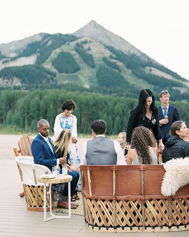 Mountain party at 11,000 feet.  Rentals @yonder_house | Florals @alifortunatobotanics | Planner @luckypennyevents #crestedbuttewedding #coloradowedding #coloradobride #thegreatoutdoors