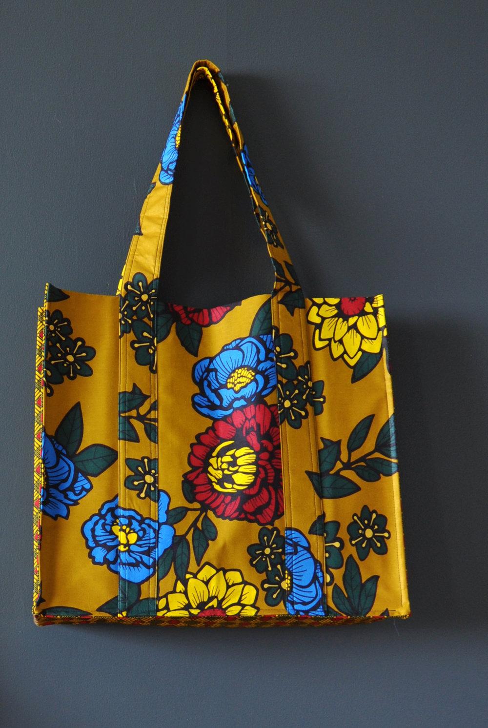 Kente Print Large Tote Bag 1