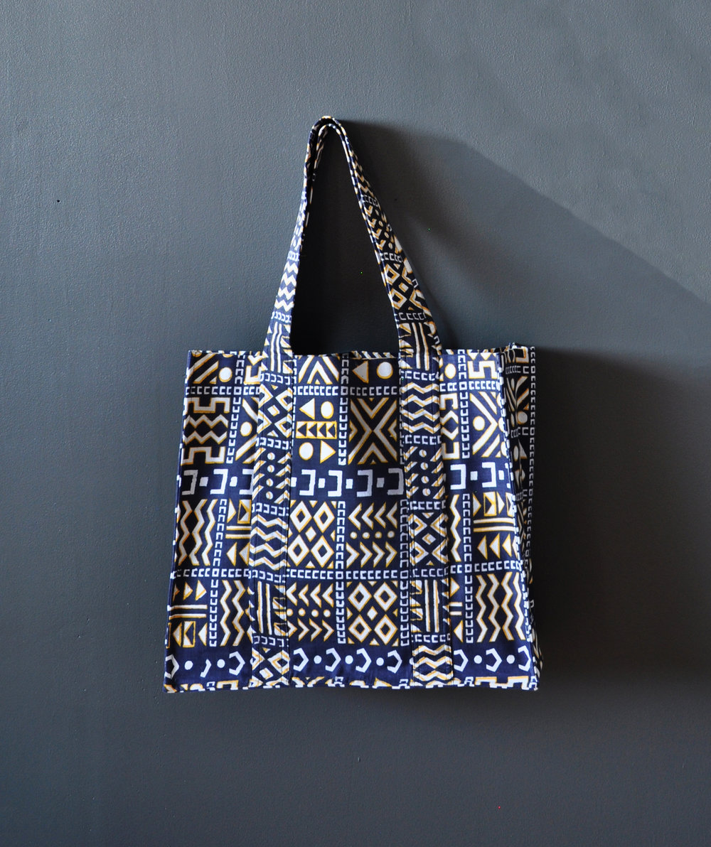 Kente Print Large Tote Bag 3
