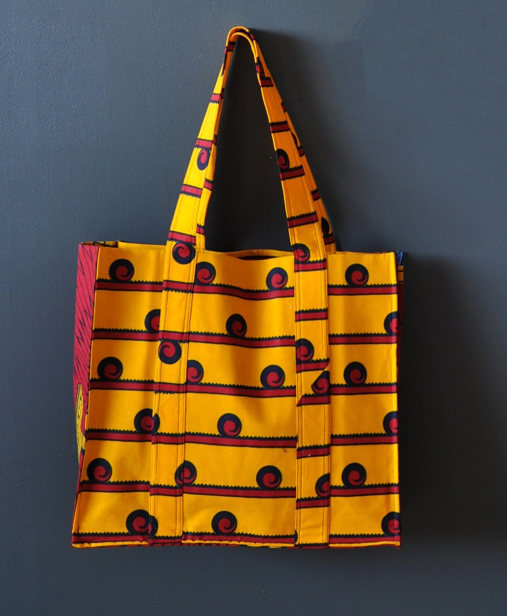 Kente Print Large Tote Bag 2