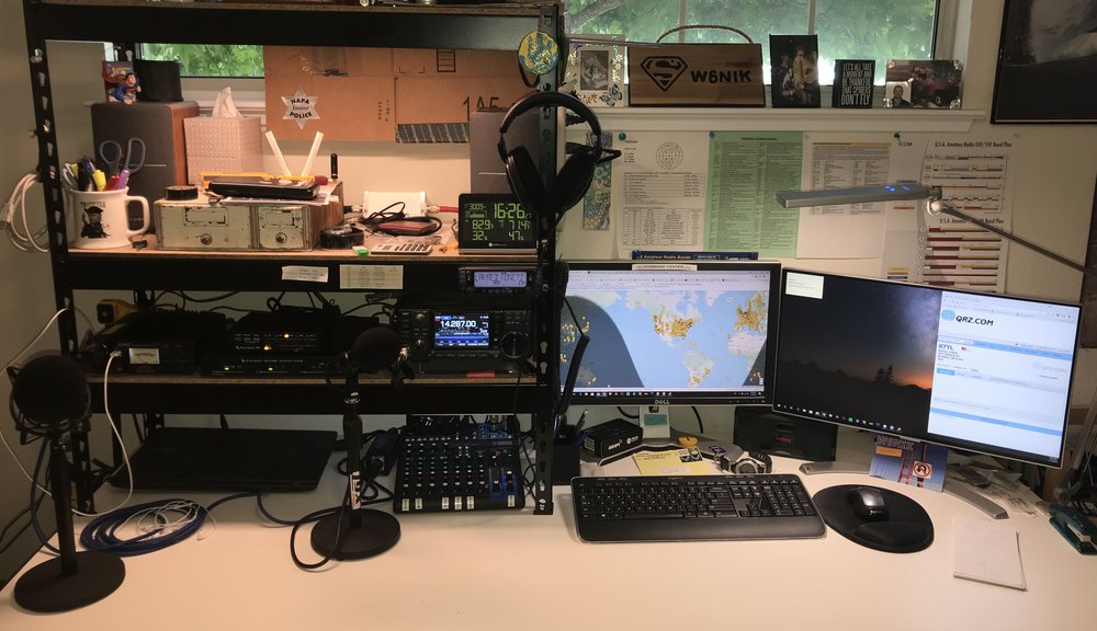 """Alinco DM-330FX Power Supply (If I'm transmitting, it's only one radio at a time....)  HF: Icom 7300 /Heil icm Microphone / Elecraft KAT500 / Elecraft W2 Power &SWR Monitor / My Antenna EFHW-4010 (Yes, I live in an Antenna Restricted Community)  VHF / UHF: Icom 2730a / Diamond X50  15"""" Acer Laptop / Intel Core i7 / 16GB Ram / SSD HD / Sound is output to an older 'Sansa' portable speaker that is actually pretty decent.  I have both radios audio going to a Yamaha MG10xu Mixer that outputs to a pair of powered Edifier Speakers or my Sennheiser HD 598 Cs Headphones. I can control the left / right side of the 2730a individually. I have pretty good low-mid-high tone controls for the 7300 at my finger tips.  The Heil Mic is not going through the mixer, but straight to the 7300. I do have a Rode ProCaster hooked into the mixer via a Cloud Lifter for something......  Yes, there is an AirSpy HF+ in the background that I have yet to play with.  Weather Station: Just something off of Amazon, has an outdoor sensor as well. Nothing special at this time."""