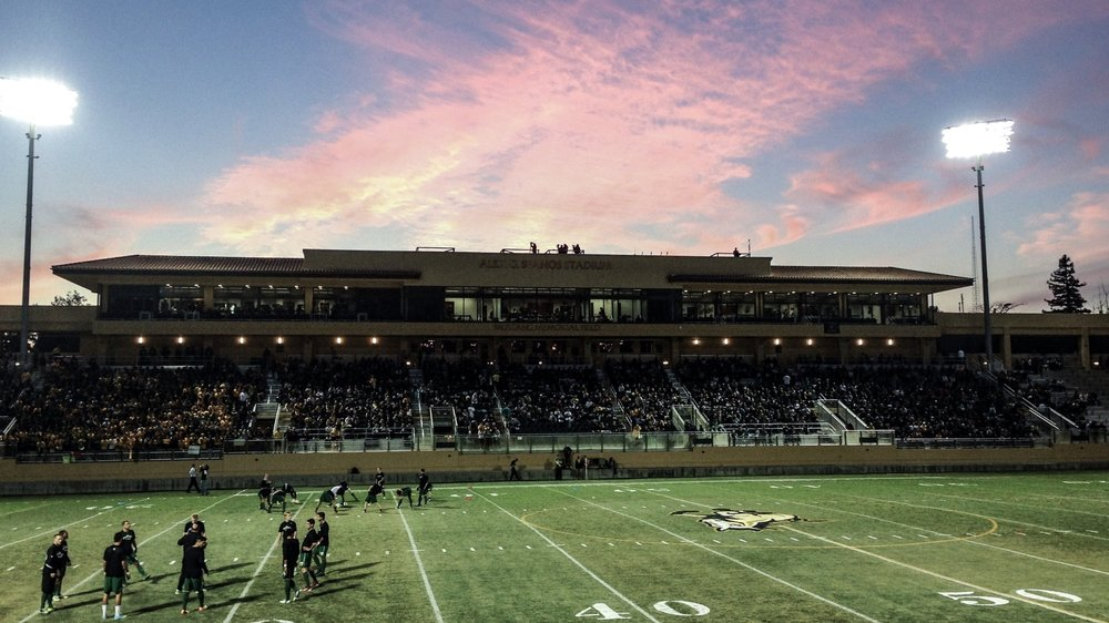 Get involved in sports, organizations and clubs on campus. Pictured above is Alex G. Spanos Stadium at California Polytechnic State University, San Luis Obispo.