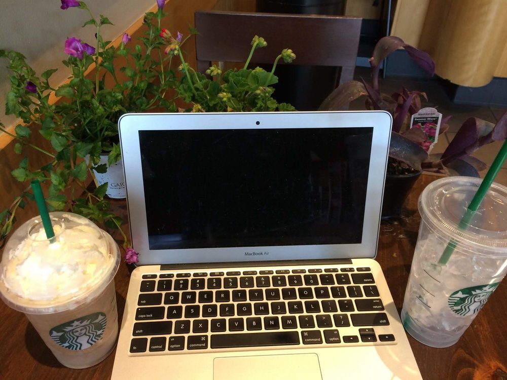 This is Marni's default writing space. Yes, sometimes she takes plants or even twinkle lights into Starbucks.