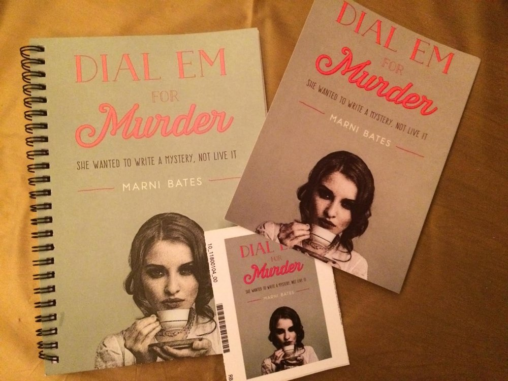 Dial Em For Murder themed stickers, postcards, and notebooks, all in promotion of Marni's work.