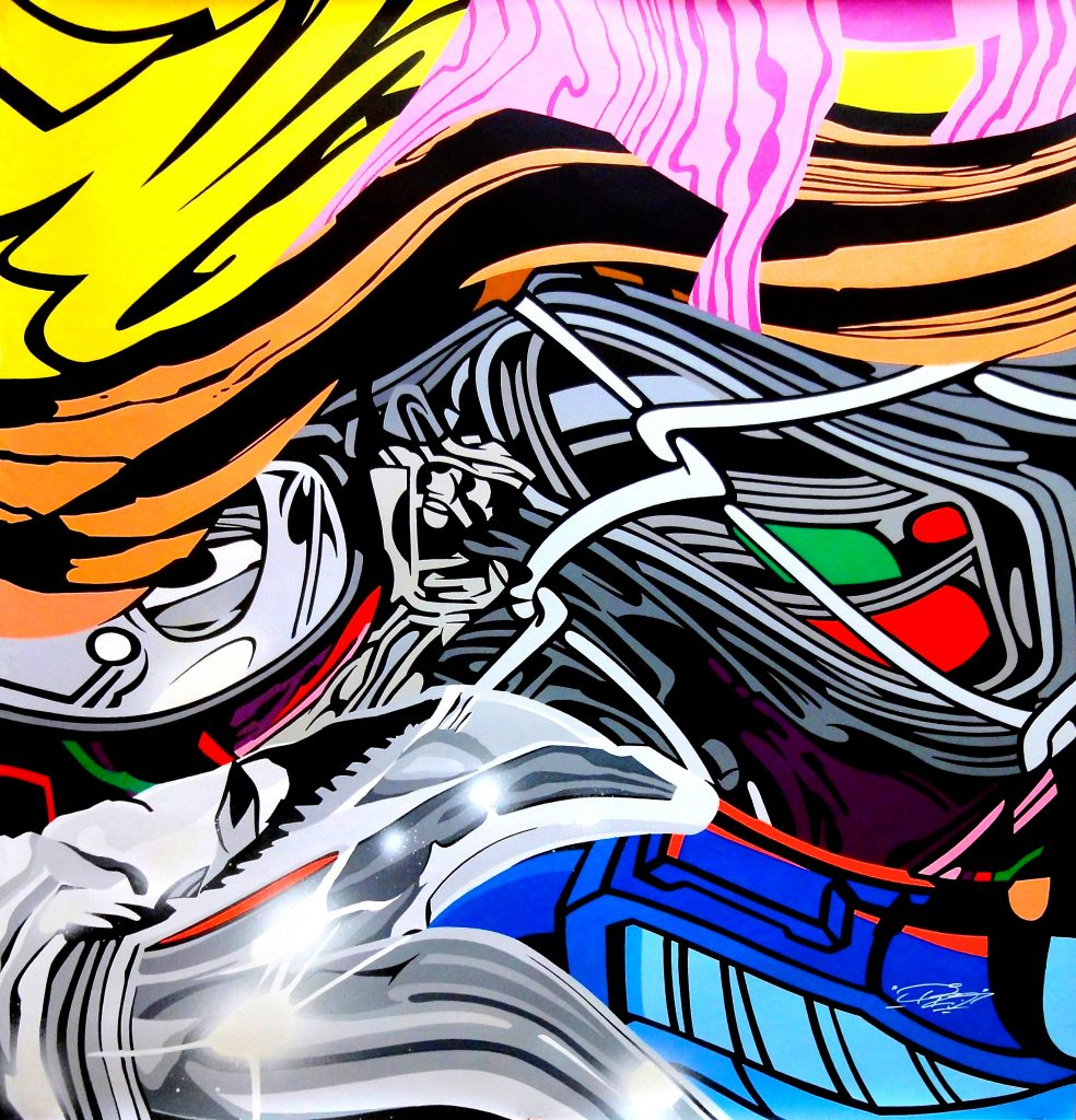 """PRO176 - PRO176, born Rudy Dougbe (Paris, 1976) started painting the streets of Paris in the 90's. Inspired by the graphic comic books by Jack Kirby, his work has always been colourful and imaginative.PRO176 was one of the first of the 'Ultra Boys International'. A crew that invented a new form of Graffiti, deriving its aesthetic from comic books, alphabetical constructivism and even cubism, they were like a""""Graffiti Avant-garde"""". In 2009 PRO met SEEN while looking for a studio and the two artists collaborated soon after. SEEN has functioned as a mentor for PRO176, showing him how to use a brush and acrylics, giving his recent works a more polished look, thanks to the use of these new techniques."""