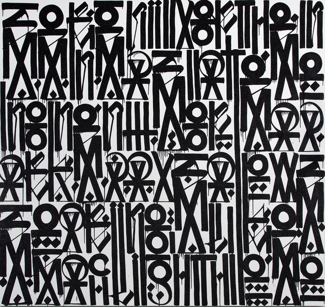 """RETNA - At first glance, the work of the artist Retna looks like an undiscovered ancient script: a series of hypnotic symbols—complex, beautiful and captivating. But Retna has created an original alphabet, fusing together influences from ancient Incan and Egyptian hieroglyphics, Arabic, Hebrew, Asian calligraphy, and graffiti. Each piece carries meaning, conveying an event or dialogue that the artist experienced. As a young of African-American of El Salvadorian and Cherokee descent, growing up in Los Angeles, Retna (real name Marquis Lewis) was mesmerized by the gang graffiti that surrounded him. He began practicing the art form, and adopted the name Retna from a Wu-Tang Clan song. In the mid-nineties he began making murals on walls, trains and freeway overpasses throughout the city. Retna has transformed from a street artist to a break-out star in the contemporary art world. He has garnered attention from Usher, an R&B artist, who commissioned the artist to create a portrait of Marvin Gaye, and MOCA director Jeffrey Deitch, who wrote in the September 2010 issue of Juxtapoz """"one of the most exciting exhibitions...this year, anywhere, was Retna's exhibition at New Image Art."""" MOCA featured Retna's work in the """"Art in the Streets"""" exhibit. Retna also painted a store in Miami for Louis Vuitton and made a sjawl with Louis Vuitton."""