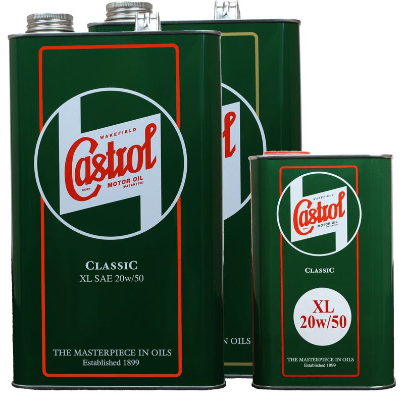 Castrol Classic XL20w50, 5 litre tin and 1 litre tin