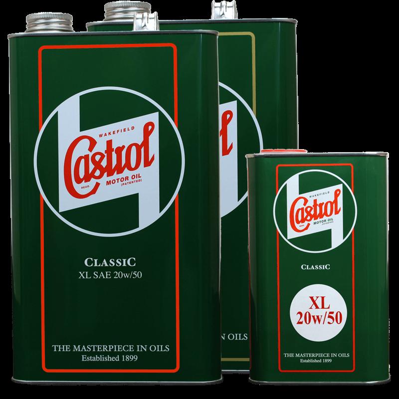 Castrol Classic XL20w50, 5 litre tin and 1 litre tin