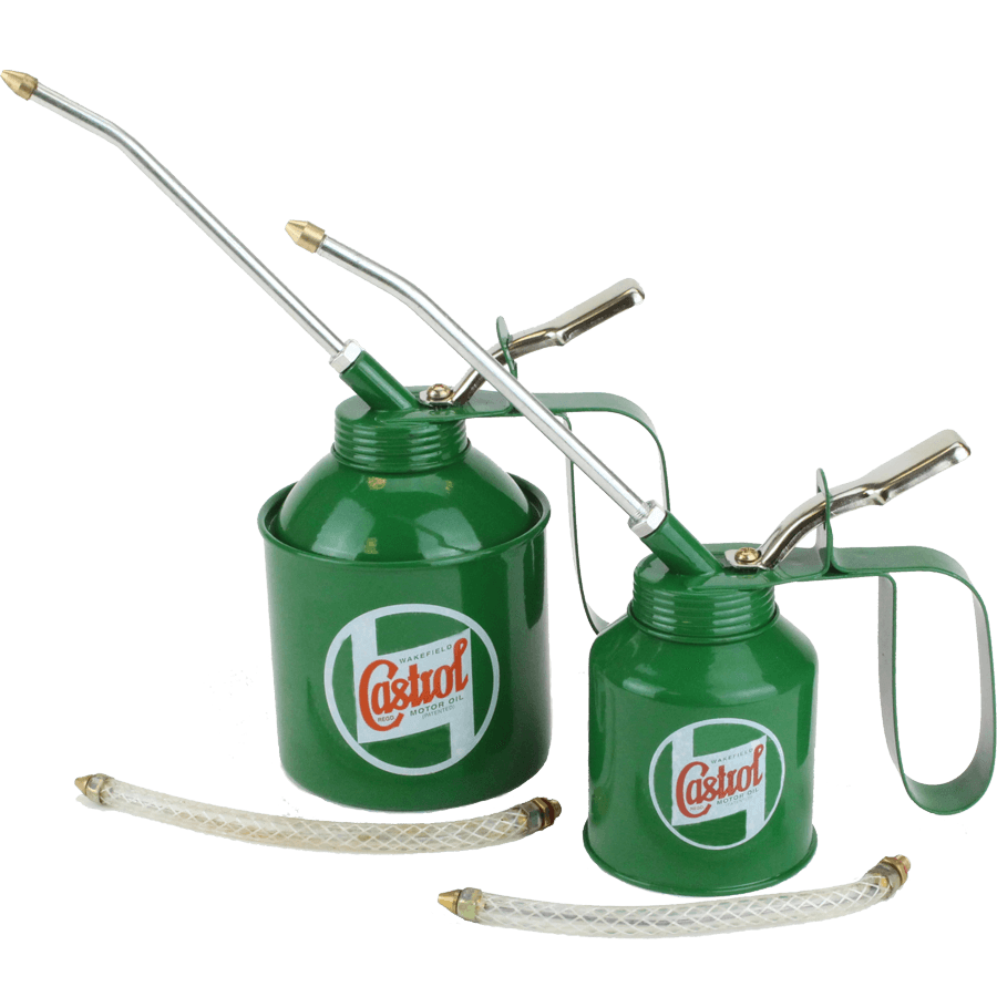Classic Oil Cans   The classic Castrol oil applicator. Pump action screw top cans, with exchangeable fixed or flexible applicator. Available in 200ml or 500ml sizes