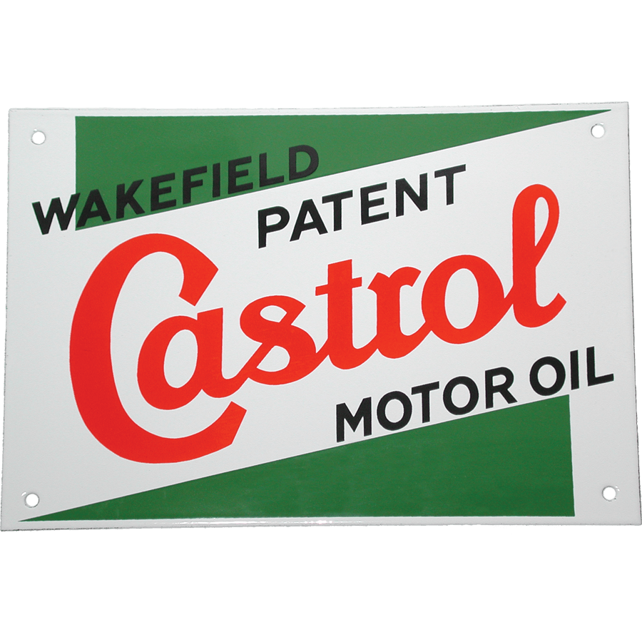 Classic Enamel Sign   Glass coated heavy duty enamel sign, a re-production in the classic Castrol style. 225mm wide x 180mm high, pre-drilled for wall mounting.
