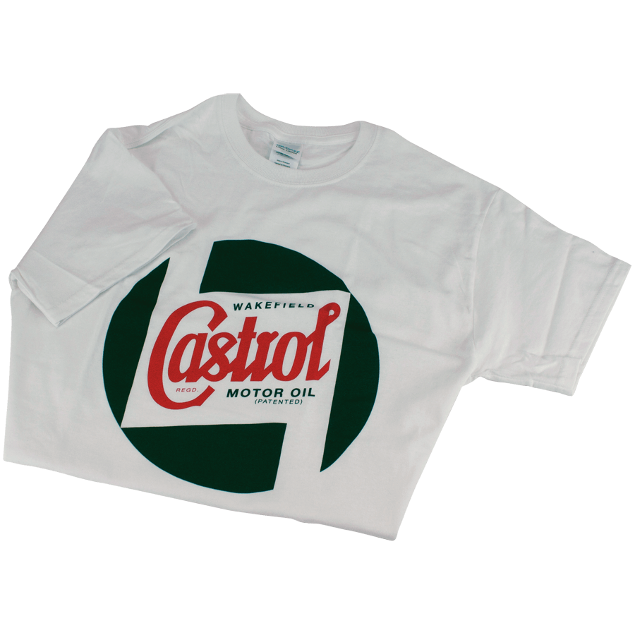 Cotton T-shirt   White cotton T-shirt with printed classic Castrol logo on the front. Available in extra small to extra large.