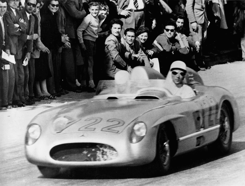 Stirling Moss winning the 1955 Mille Miglia in a Mercedes-Benz 300 SLR