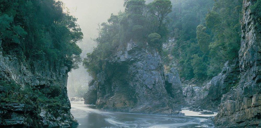 Morning Mist Rock Island Bend, Franklin River, Southwest Tasmania.Peter Dombrovskis/ (courtesy Liz Dombrovskis) AAP