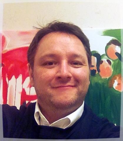 Ingo H. Klett vor einer seiner Arbeiten als Kunstmaler. Foto: privat
