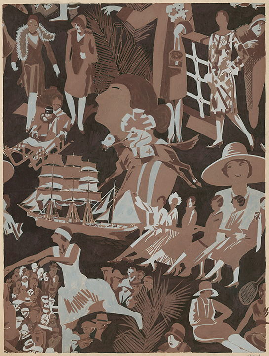 "René Clarke: Montage of scenes of high society. ""Roto — 40 inch Crepe de Chine"". Fabric design; Brown & grey gouache, 20 x 15"" signed in margin."