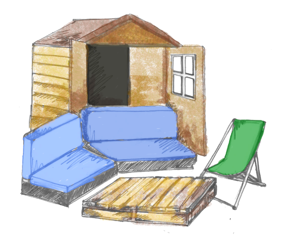 potting shed -  We have three potting sheds on the allotment and they can be hired for up to 10 people. Seating will be placed inside and out to allow guests to soak up the rays!Luxurious for six, comfortable for eight and a friendly ten.
