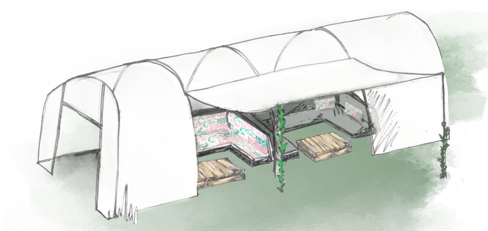 polytunnel - The allotment will be framed by a long polytunnel housing banquette seating perfect for individual groups or larger parties of up to 100.