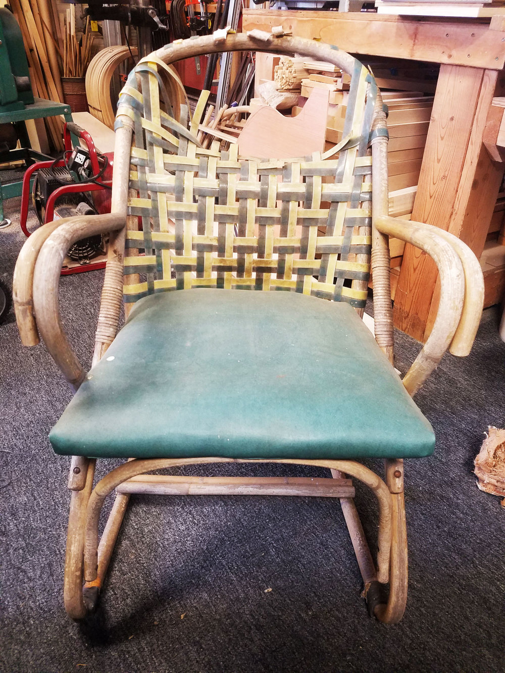 One chair of a set of four, these chairs required a lot of cleanup and preparation before being reupholstered.
