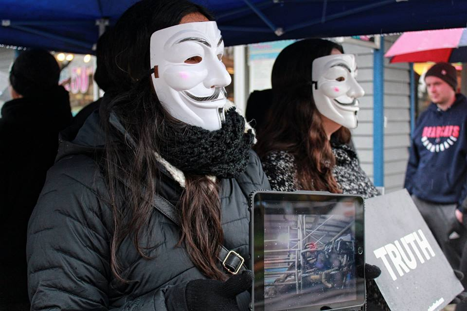 Speaking up for the Voiceless - ANONYMOUS FOR THE VOICELESS IS A GLOBAL ANIMAL RIGHTS ORGANIZATION WHICH SPECIALIZES IN STREET ACTIVISM, WITH OVER 9,650 DEMONSTRATIONS HELD TO DATE IN 850 CITIES AROUND THE WORLD. OUR FINANCIAL SUPPORT WILL HELP THE NEW CHAPTER BASED IN LANGLEY (BRITISH COLUMBIA) to START ITS OUTREACH ACTIVITIES IN THE MOST IMPACTFUL WAY. THROUGH THE USE OF UNDERCOVER FOOTAGE, THE ORGANIZATION EXPOSES TO THE GENERAL PUBLIC WHAT IS INTENTIONALLY HIDDEN FROM THEM WHEN IT COMES TO ANIMAL EXPLOITATION. THEIR ACTIVISTS ARE ENCOURAGED TO CREATE THOUGHT-PROVOKING DISCUSSIONS WITH THE GENERAL PUBLIC, PLANTING SEEDS THAT CAN LEAD TO A MORE COMPASSIONATE LIFESTYLE BY FOLLOWING A PLANT-BASED DIET. THE REALITIES AND HORRORS OF MEAT PRODUCTION BECOME HARDER TO IGNORE ONCE THE VEIL OF SECRECY IS LIFTED.