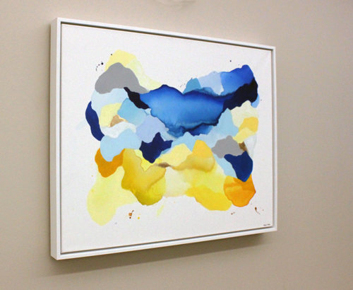 "Installed at Carle Field Administration Building, Champaign, IL 3rd Floor Office Space  Megan Hinds   Did You Get The Memo?  Ink, acrylic, and gold leaf   25"" x 30""   2018"