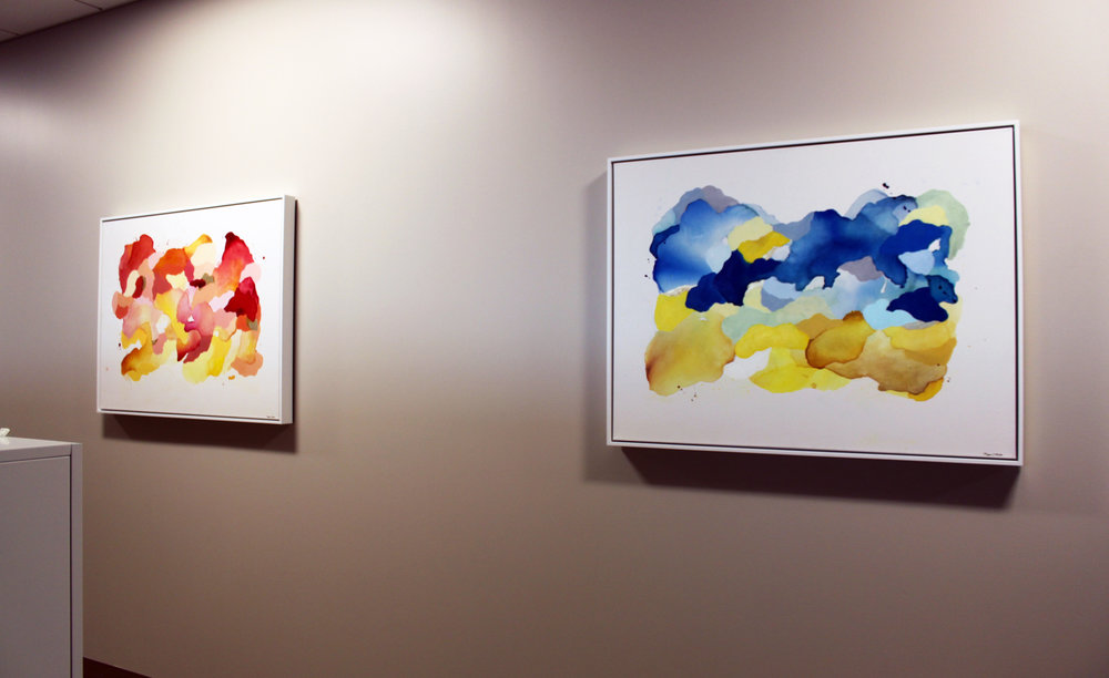 "Installed at Carle Field Administration Building, Champaign, IL 2rd Floor Office Space  Megan Hinds   Left: Did You Order This Sunshine?  Right: Keep Looking   Ink, acrylic, and gold leaf   30"" x 40""   2018"