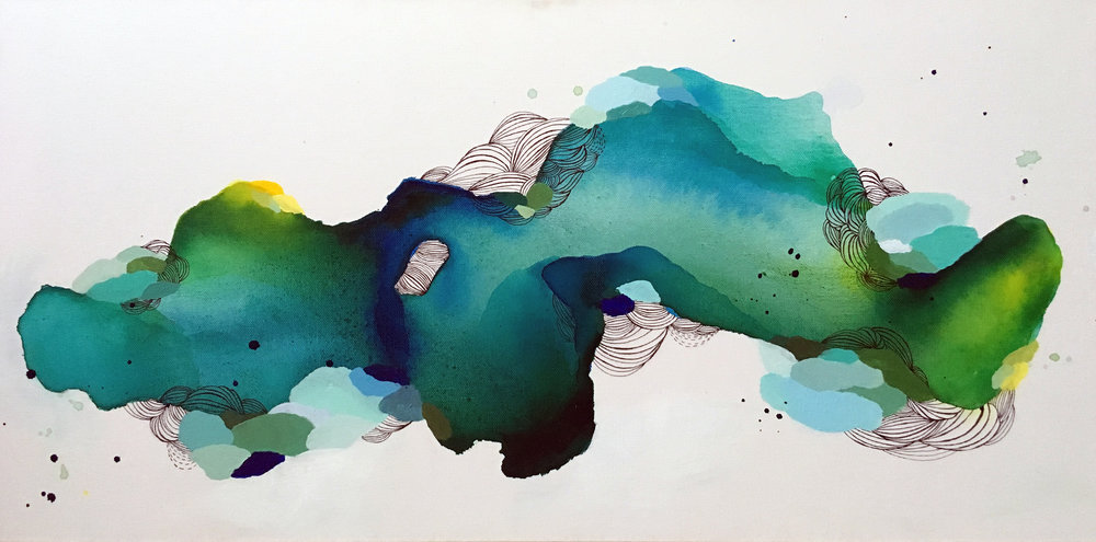 "She is Water   Ink, Acrylic, Pen  30"" x 15""  2017  SOLD"
