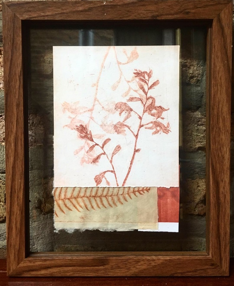 "Glenbeigh  Soft Ground Etching, pressed leaves from Dingle Ireland  9"" x 11"" Floating frame  SOLD"