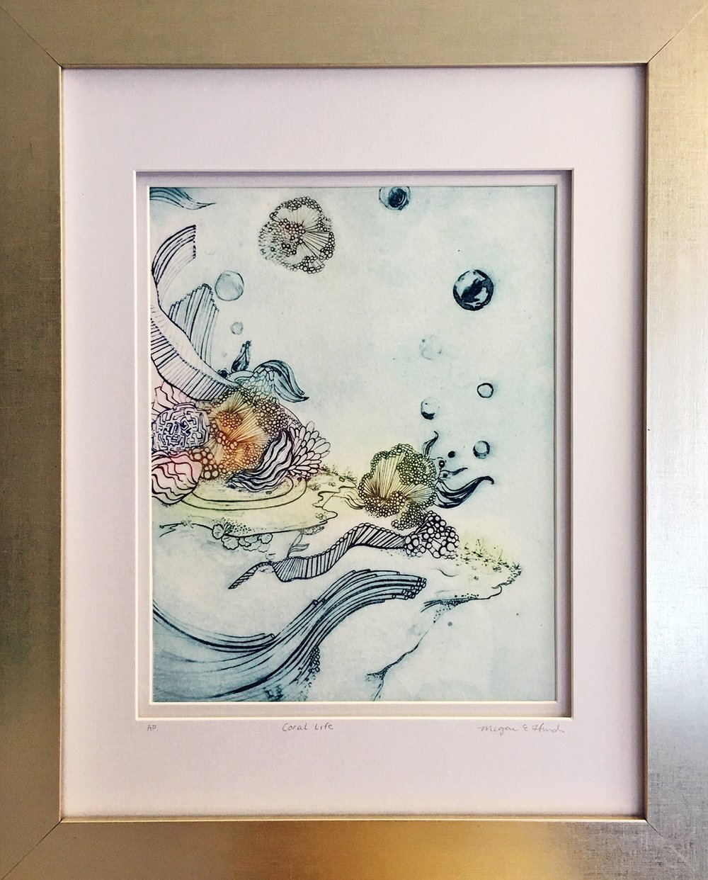 """Coral Life II  A la Poupe Solar Plate Etching  12"""" x 15"""" double matte, gold leaf frame  $175- SOLD"""