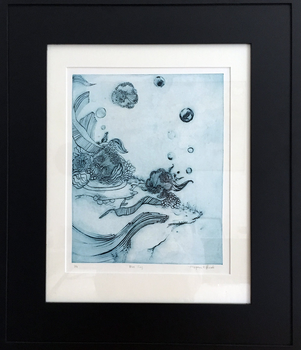 """Blue Fog  Solar Plate Etching  12"""" x 17"""" double matte, gold leaf frame  $150  Avaible at Texture Home in Champaign, IL"""