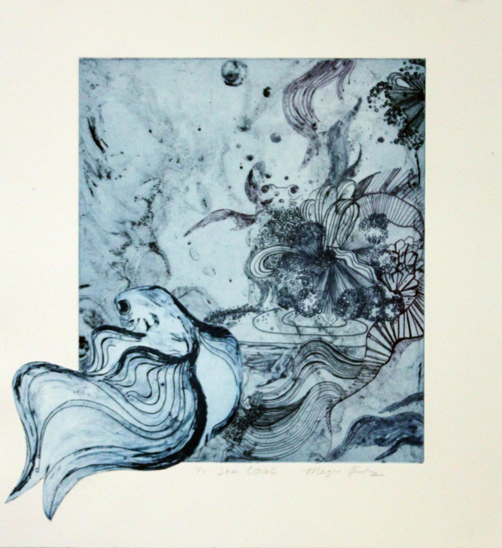 """Sea Coral I  Solar Plate Etching  12"""" x 15""""   Sold"""