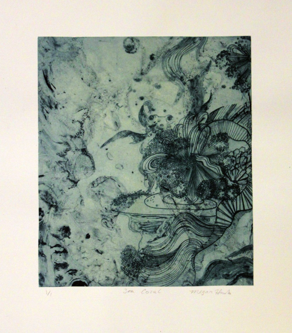 """Sea Coral II  Solar Plate Etching  12"""" x 15""""   Sold"""