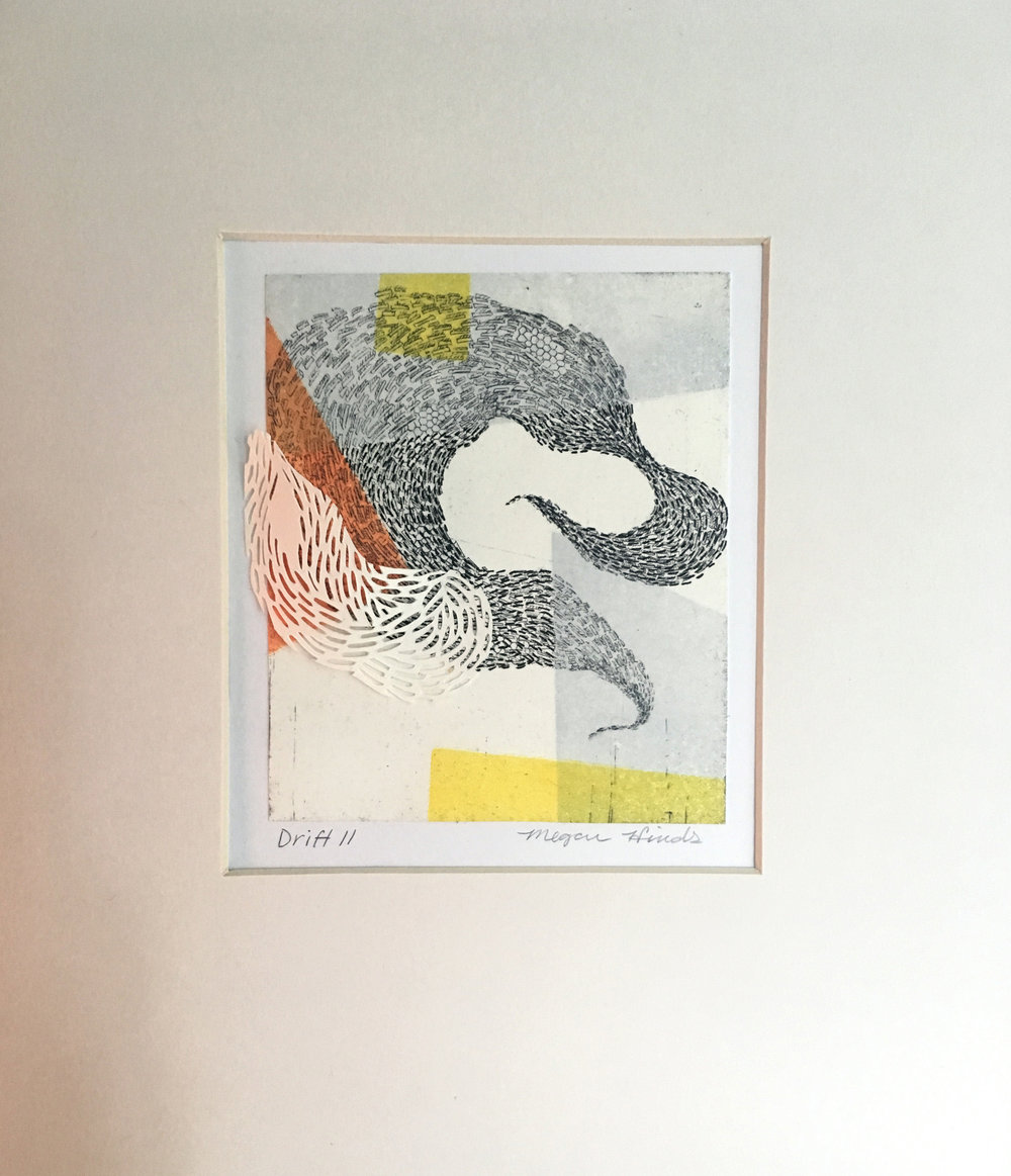 "Drift II   Monotype, copper etching, hand cut paper   8"" x 10"" x 2""  Sold"