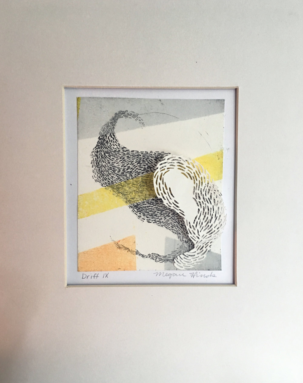 "Drift XIX   Monotype, copper etching, hand cut paper   8"" x 10"" x 2""  Sold"