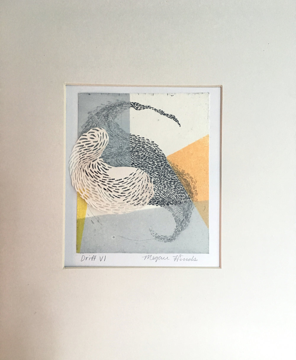 "Drift VI   Monotype, copper etching, hand cut paper   8"" x 10"" x 2""  Sold"