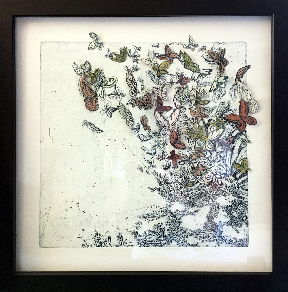 "I Gently Fleet I Fly  Intalgio hand cut collage  12"" x 12"" Black Frame  SOLD"
