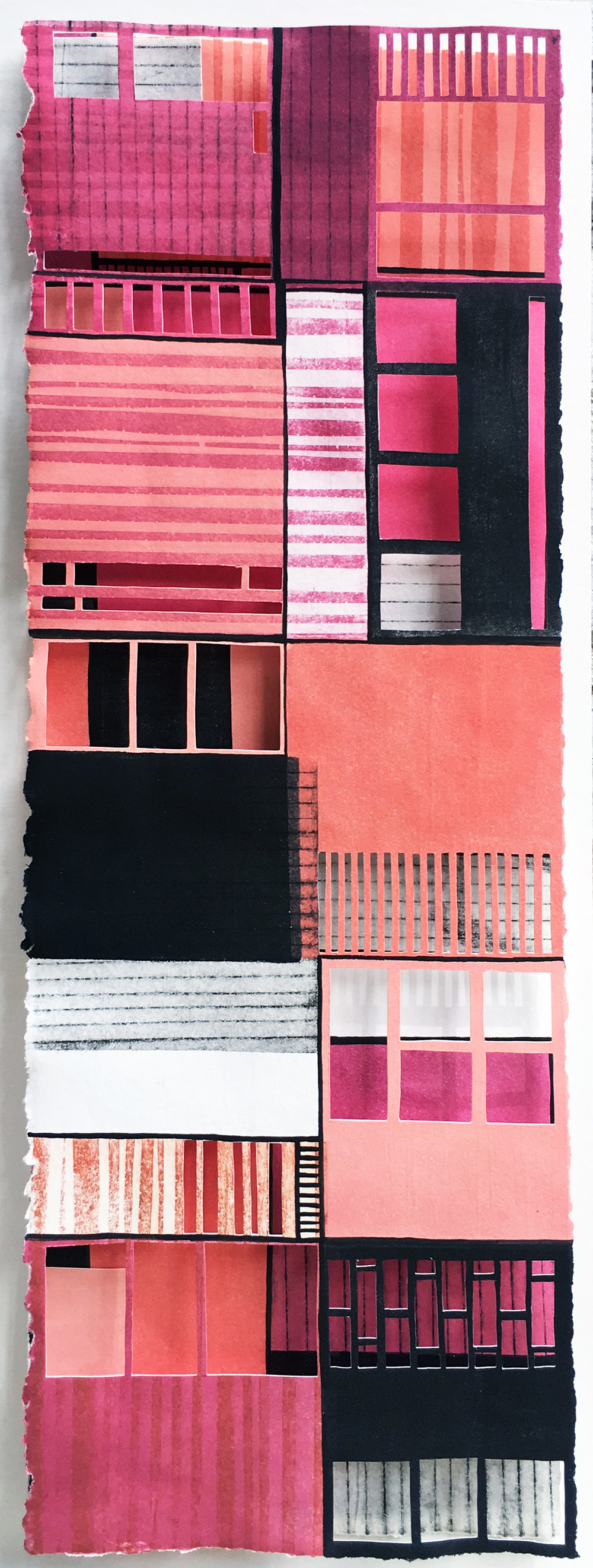 """Dream House  Hand cut, monotype, copper etching, acrylic ink  6"""" x 17"""" x 2""""  2018  SOLD"""