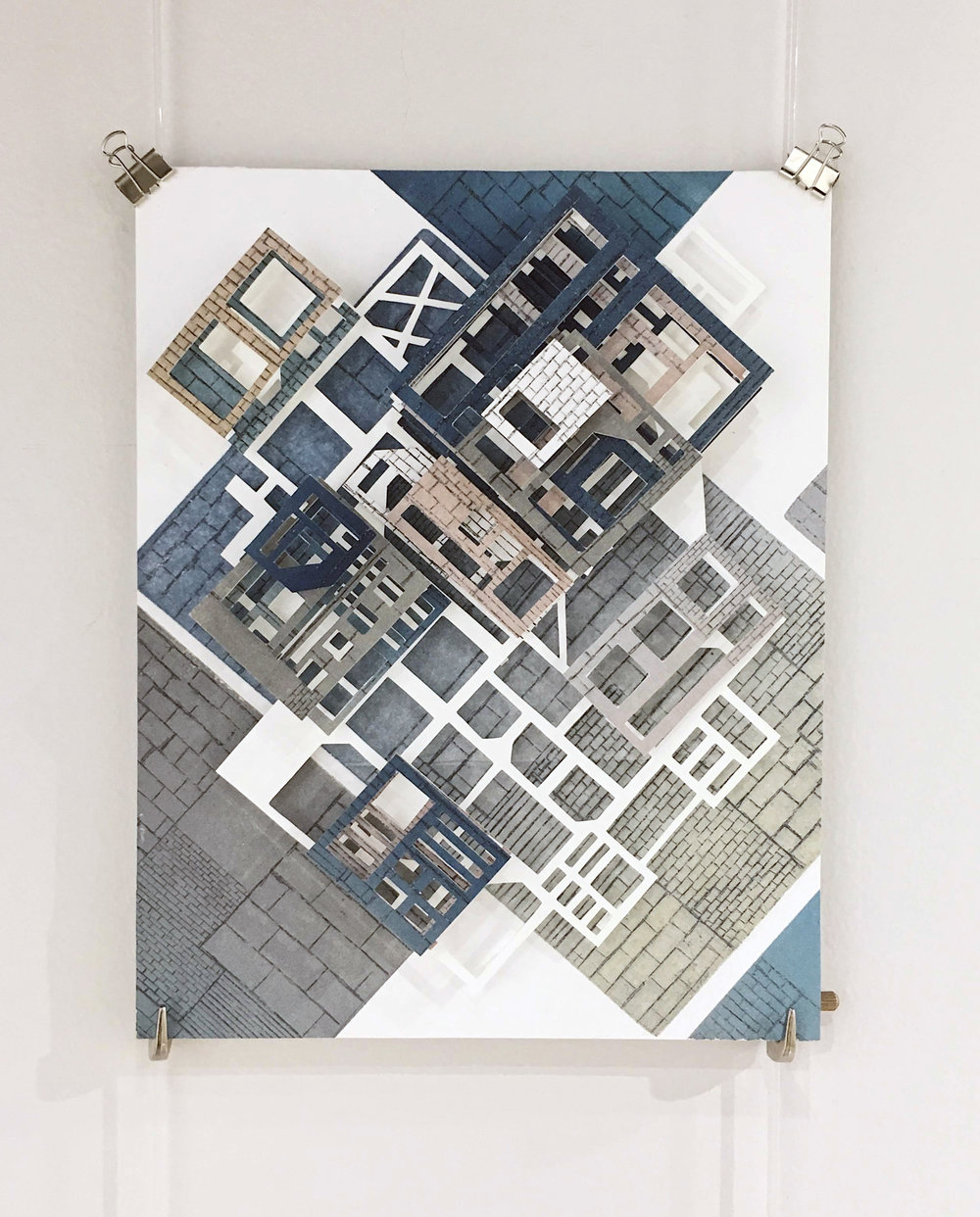 "Urban Settlement- Structure  Intaglio Hand Cut Collage  8"" x 10""  $400"