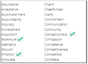 A list of values with three ticked - choose your values