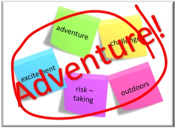 Post-it notes with values written on them, and a lead title of 'Adventure' - how to choose your own values