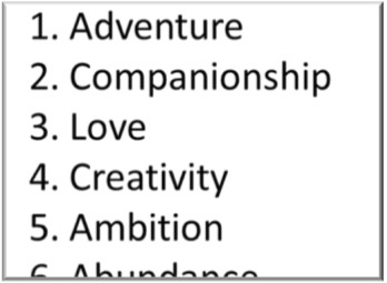 A list of values ranked by order of importance - how to prioritise your personal values