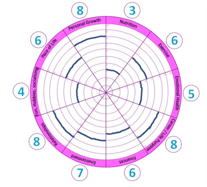 A wheel of life which allows you to rate the different parts of your life - with example ratings and arcs
