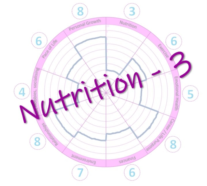 A wheel of life which allows you to rate the different parts of your life - with focus area chosen as 'Nutrition'