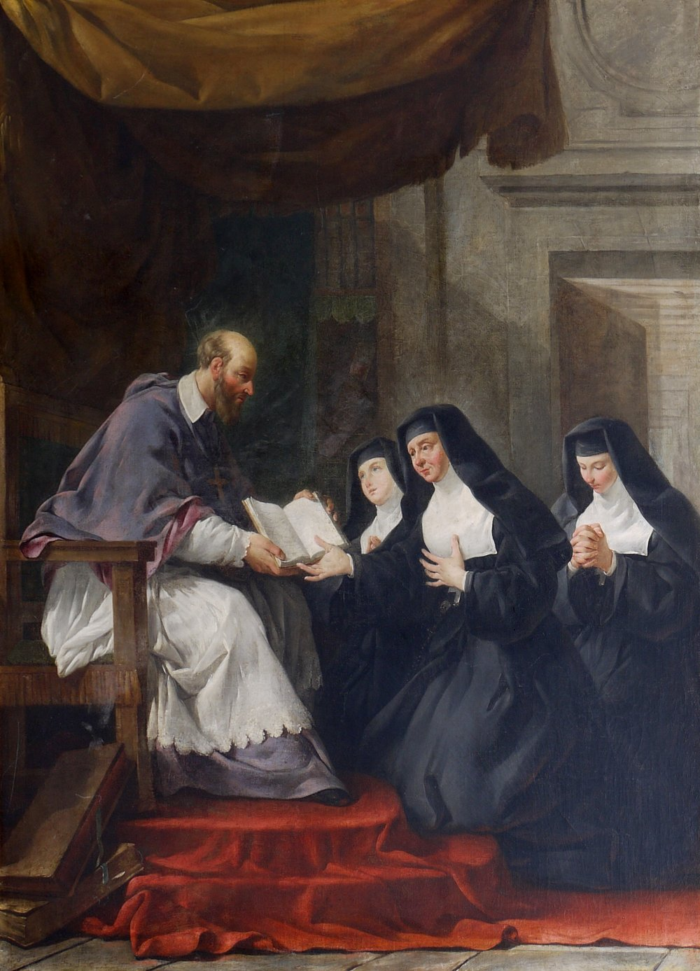 St. Francis De Sales giving St. Jane de Chantal the Rule of the Order of the Visitation. Image in the Public Domain.