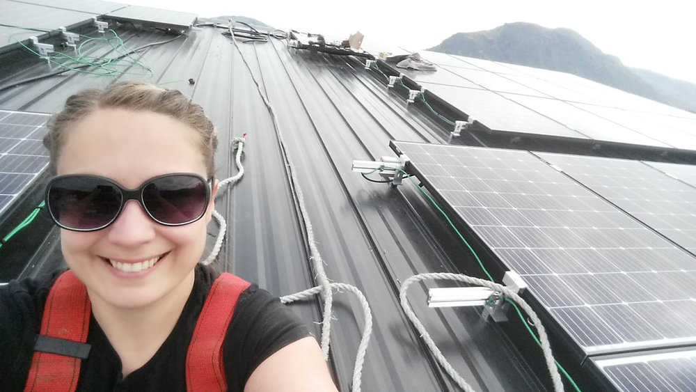 Amber installing four separate 4.8 kW solar arrays on a fourplex in Kamloops.